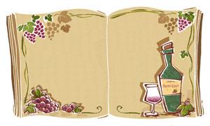 葡萄酒与葡萄藤蔓边框创意分层素材