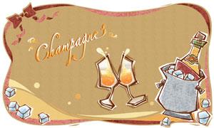 冰块香槟与碰一起的高脚杯分层素材
