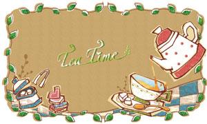 绿叶边框与茶壶茶碗等创意分层素材