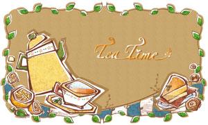 绿茶边框与饮茶生活等创意分层素材