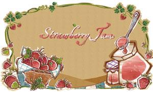藤蔓边框与草莓果酱?#20154;?#24425;分层素材