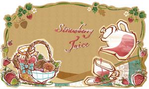草莓篮子与果酱果汁?#20154;?#24425;分层素材