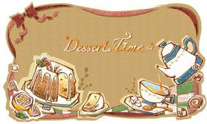 手绘效果水果甜点咖啡主题分层素材