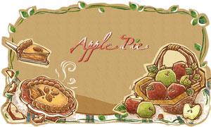 水彩手绘甜点与一篮子苹果分层素材