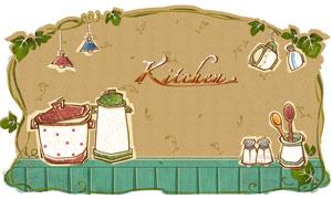 吊灯饭碗与厨房用品等手绘分层素材