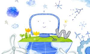 地球上的电视机等手绘涂鸦分层素材