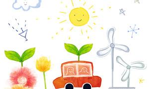 太阳能板与汽车花朵等涂鸦分层素材
