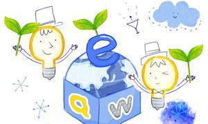 灯泡与盒子里的地球等创意分层素材