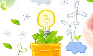花盆上的灯泡水彩涂鸦创意分层素材