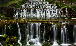 龙潭河美丽的小溪瀑布摄影图片