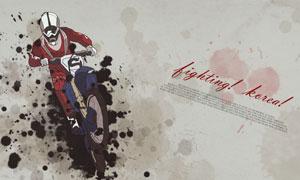 摩托车赛车手水墨创意设计分层素材