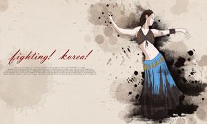 水墨元素裝飾舞蹈人物主題分層素材