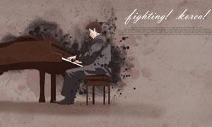 彈鋼琴的人物創意水墨設計分層素材