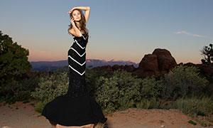 黑色礼服打扮美女模特写真高清原片