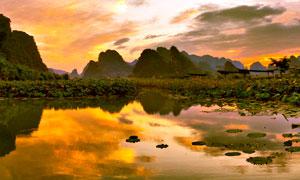 英西峰林莲湖晚霞美景摄影图片