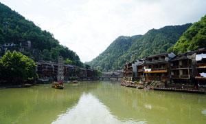 凤凰古城沱江两岸美景摄影图片