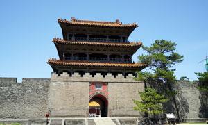 沈阳东陵清福陵城墙和城楼摄影图片