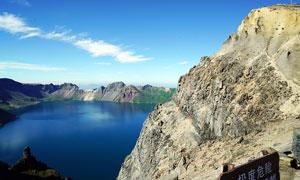美麗的長白山天池景觀攝影圖片
