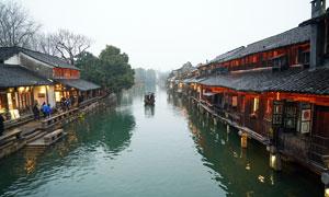 江南水乡乌镇西栅河道旅游摄影图片