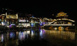凤凰古城雪桥美丽夜景摄影图片