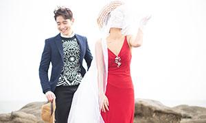 一对幸福笑容恋人婚纱摄影高清原片
