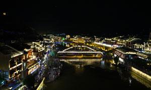 凤凰古城雪桥美丽夜景高清摄影图片
