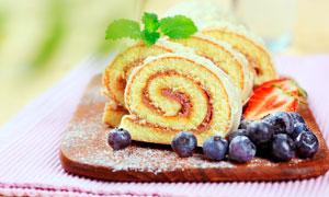 蓝莓蛋糕西式点心高清摄影图片