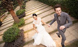 公园实景情侣婚纱摄影原片高清素材