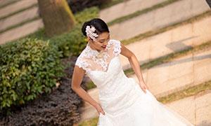 洁白婚纱礼服美女人物摄影原片素材