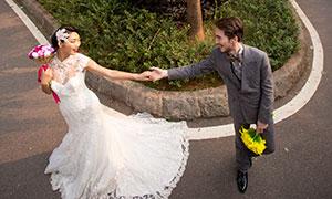 棕榈树风光与情侣人物婚纱摄影原片