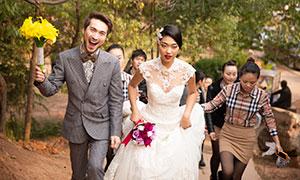 幸福开心时刻婚纱外景摄影原片素材