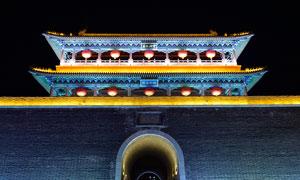 青州古城城墙美丽夜景摄影图片