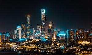 都市高楼大厦美丽夜景摄影图片