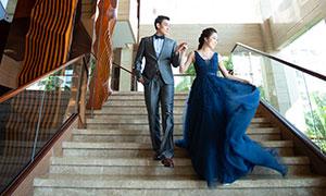 建筑樓梯內景婚紗攝影原片高清素材
