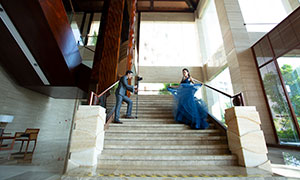藍裙婚紗禮服人物攝影高清原片素材