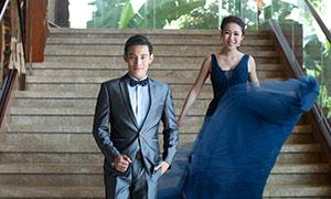 樓梯臺階內景戀人婚紗攝影原片素材