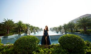 棕榈树外景风光与长发蓝裙美女原片