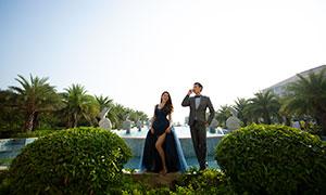 郁葱树木外景婚纱摄影原片高清素材