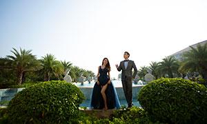 开心笑容恋人外景婚纱摄影原片素材