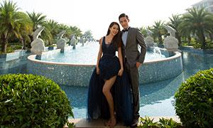 树木喷泉风光景观婚纱摄影原片素材
