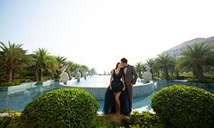 棕榈树木喷泉外景摄影婚纱高清原片