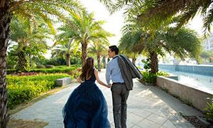 公园树木喷泉景观婚纱主题摄影原片