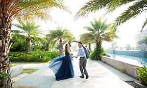 树木植物景观恋人婚纱摄影原片素材