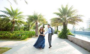 公园绿树外景恋人婚纱摄影原片素材