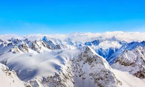 瑞士阿尔卑斯山脉雪山景观摄影图片