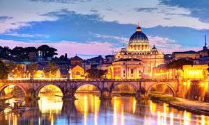 圣彼得大教堂美丽夜景高清摄影图片