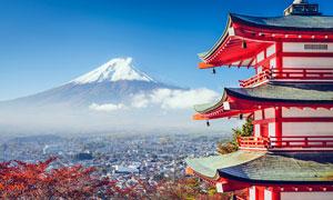 日本富士山脚下城市和塔楼摄影图片