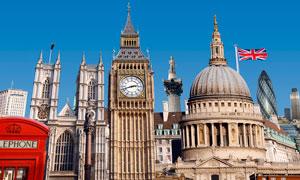 蓝天下的伦敦钟楼建筑摄影图片