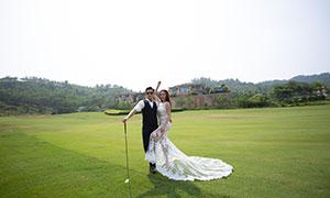 草地树丛风光人物婚纱摄影原片素材