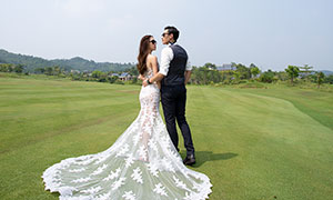草地树丛外景风光婚纱摄影原片素材